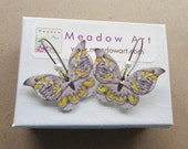 Butterfly Earrings. Plastic Shrink Art Dangle. Crystal Glitter Brass Lead free Handmade MEDIUM Gray Black Yellow