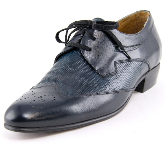 Navy Blue Wing Tip Shoes Spectator Lace Up Oxford Brogues