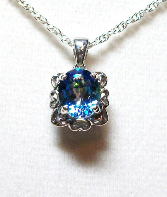 "Blue topaz  pendant   ""Shelby"""