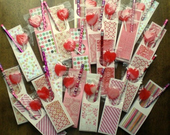 12 Pencil/Pencil or Lollipop/Pencil Valentines - Class Valentines - You Choose Candy or No Candy