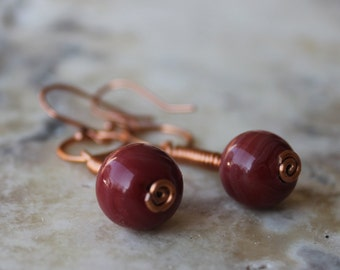 dangle earrings- copper and red lampwork- Jupiter and Mars