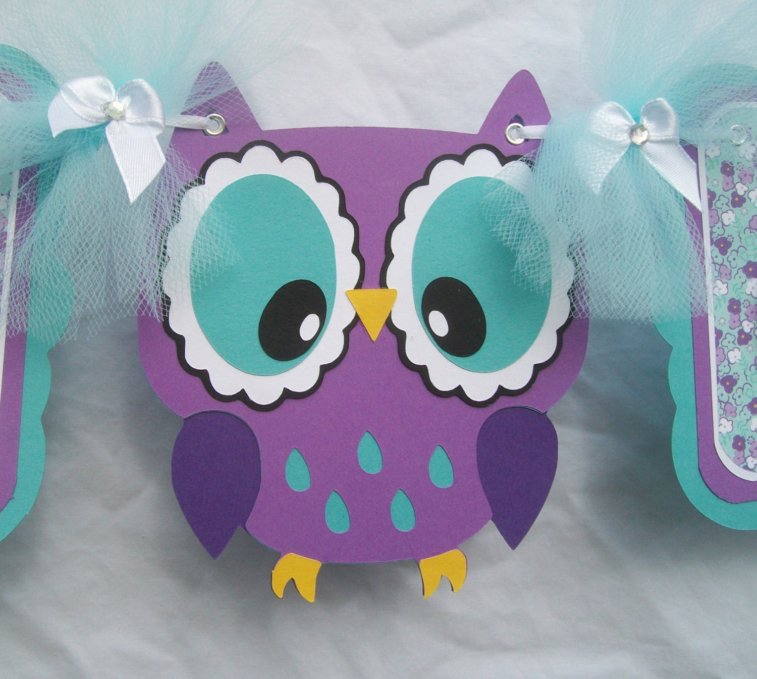 purple owl baby shower decorations