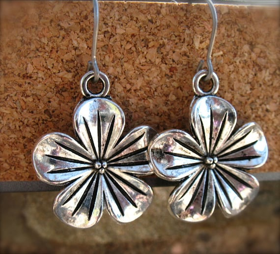 Titanium Earrings, Silver Flower Charms with Hypoallergenic Titanium Ear Wires