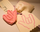 I Love You Hand Sign Rubber Stamp, Sign Language I Love You Stamp