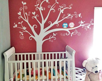 Lovely tree with owls - Nursery Kids Removable Wall Vinyl Decal