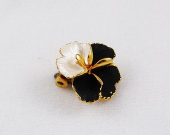 Vintage Clip On Navy White and Gold Clip On Orchid Earring (Single)