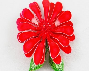 Vintage Large Red Enamel Flower Brooch