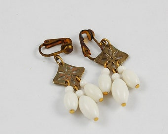 Vintage Clip On Earrings with White Beads