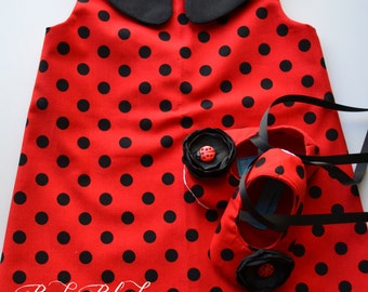 Ladybug Retro Red Black A-line Dress Shoes Set Infant Outfit Baby Shoes
