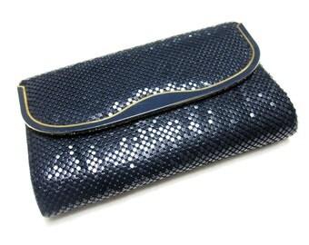 Dark Blue Purse 60s Mesh Handbag Metal Mesh Purse Envelope Clutch
