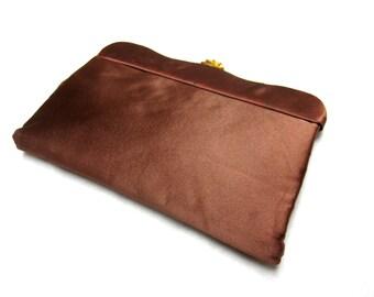 Brown Purse Clutch Satin Handbag Gold 50s Lewis