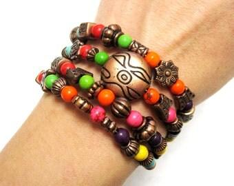 Rainbow Stone Bracelet Western Wrap Copper Cuff