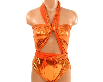 One Wrap Swimsuit Medium Bathing Suit Wrap Around Swimwear Orange Metallic Bridal Bikini traje de baño One Piece Swimsuit Swimming Costume