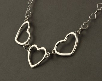 Sterling silver heart necklace, three heart necklace, heart chain, three hearts, 3 heart necklace, Valentines day gift