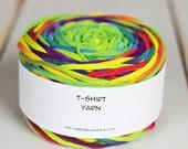 Cotton Tshirt yarn, Bright Rainbow Tie Dye, 57 yards, 7 wpi (T234)