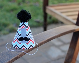 First Birthday HAT ONLY Mustache Chevron Gray Red Black Turquoise Print 1st Birthday Outfit Toddler Baby Boy or Girl