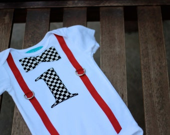 First Birthday Shirt Checkered Flag Black White and Red Race Car Nascar