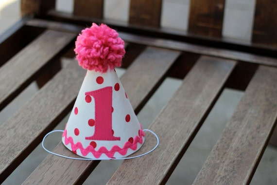 ... Baby Girl Hot Pink White Polka Dots First Birthday Party 1st Birthday