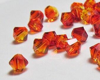 4mm Swarovski Fire Opal Crystal Bicone  Xilion Qty 24