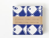 Abstract Fish Coasters Navy Blue and White Modern Summer Ceramic Tile Coasters, set of 4 - Tilissimo