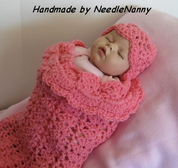 Crochet Baby Cocoon Bubble Gum Pink Swaddle Sack Cuddle Sack