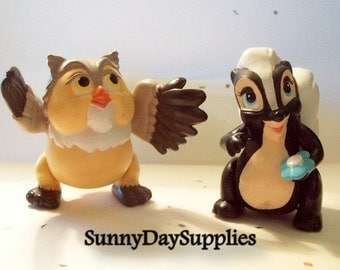 Vintage McDonalds Happy Meal Toys, Disney, Bambi Toys, Flower the Skunk and Friend Owl, 1988 toys, 2 in Lot, CLEAN,  Bambi Toys