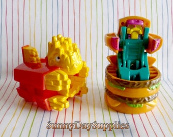 Vintage McDonalds Toys, Dinosaur and Robot , Changeables, 1980's, French Fries, Big Mac,  2 in Lot,  Food Toys
