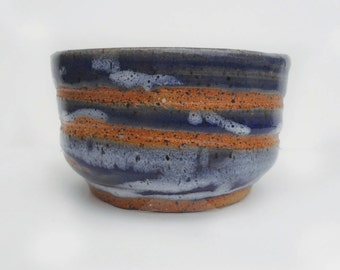 Small Blue Ridged and Swirled Tcup