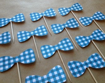 12 Bow Tie Cupcake Toppers - Gingham