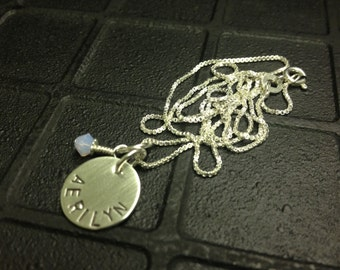 Hand Stamped Jewelry - One Name Personalized Hand Stamped Necklace with Swarovski Crystal