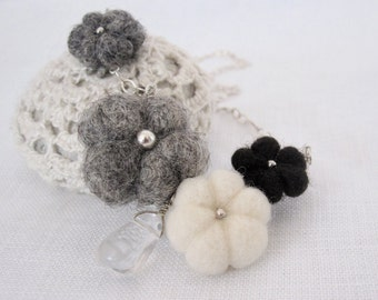 felted flower necklace with crystal quartz drop. Gray, white and black on sterling silver cable chain. Gift for her.