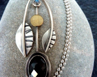 Handmade Silver Harvest Pendant with Golden Sheen Obsidian and Blue Labradorite
