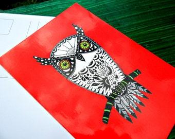 Postcard Red Owl Animal Art