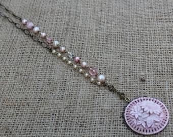 Pink Flower Vintage Necklace