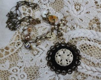 Vintage Button Pendant Necklace