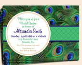 Peacock Invitation Printable or Printed with FREE SHIPPING - Birthday, Shower, Rehearsal Dinner, Destination Invitation