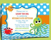 Under the Sea Invitation Printable or Printed with FREE SHIPPING - Fish, Ocean, Beach, Sea Birthday or Baby Shower