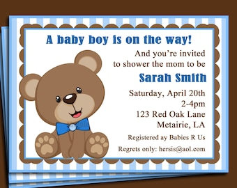 Blue Teddy Bear Invitation Printable or Printed with FREE SHIPPING - Birthday, Shower
