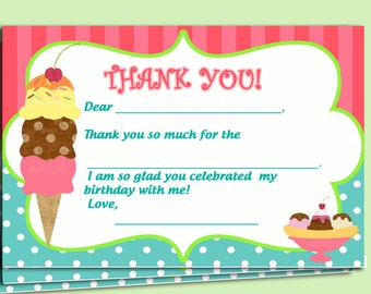 Automatic Download - Ice Cream Thank You Notes Printable - Sweet Shoppe Collection