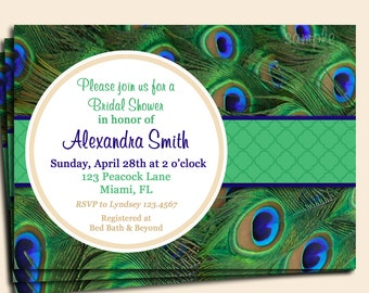 Peacock invitation Etsy