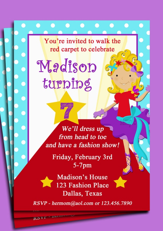 Red Carpet Girl Party Invitation Pick Hair ColorStyle and Skin