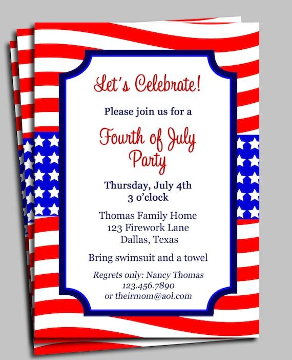 Fourth Of July Invitation Printable Celebration Birthday