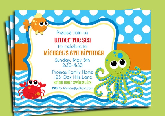 under the sea invitation printable or printed with free shipping,
