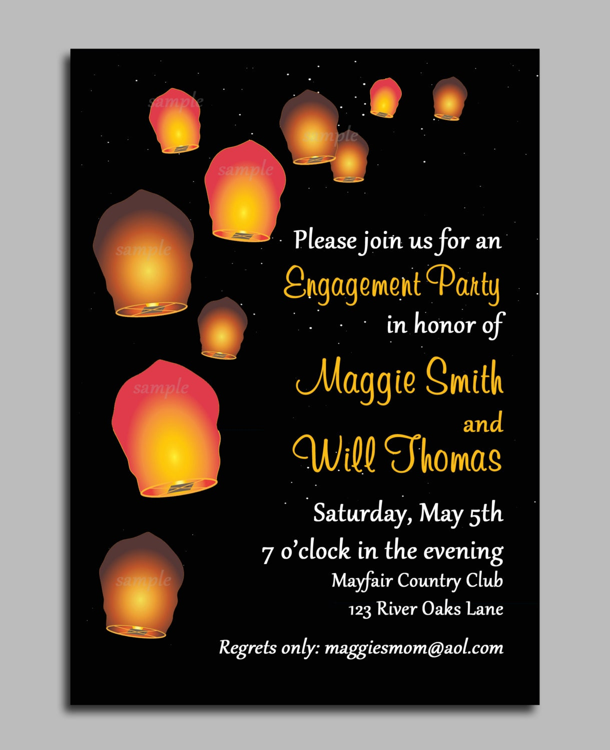 Sky Paper Lantern Invitation Printable Or Printed With Free