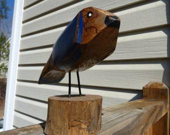 John Lynch, Art Sculpture Blue Bird Rough Cut, Rustic , Folk Art from Salvaged Maple b3