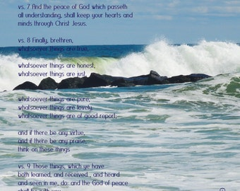 Ocean and Scriptures, Philippians 4, waves, inspirational, faith, pure, lovely, peace, blue wall decor, Bucks County Made, Gina Waltersdorff