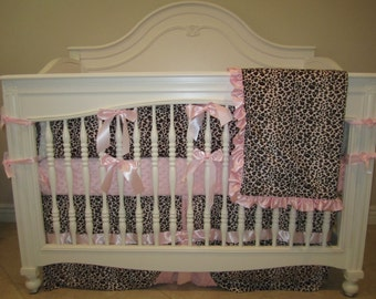 Pink Leopard Baby Bedding 4 Piece Set