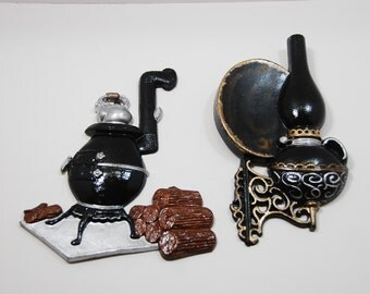 Vintage Hoda Oil Lamp and Pot Belly Stove Wall Hanging Renewed