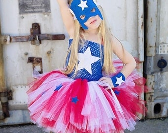 Superhero girls inspired  tutu dress and costume in red blue and white