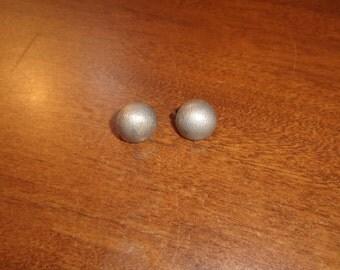 vintage clip earrings silvertone dots